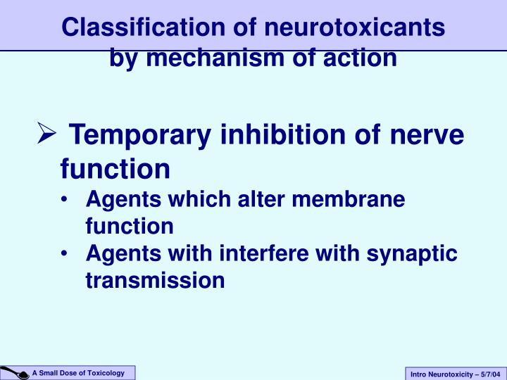 Classification of neurotoxicants by mechanism of action