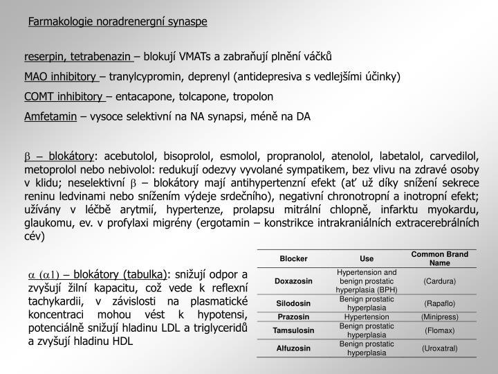 Farmakologie noradrenergní synaspe