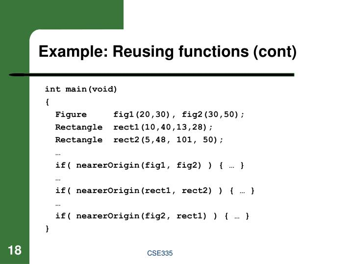 Example: Reusing functions (cont)