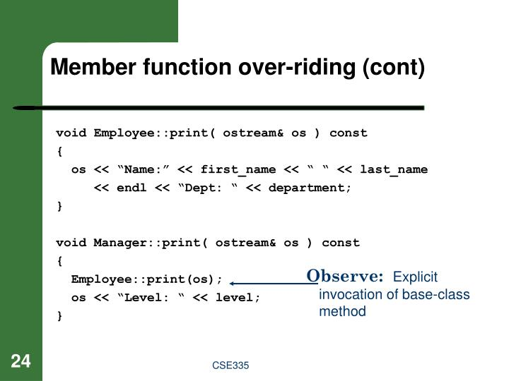 Member function over-riding (cont)