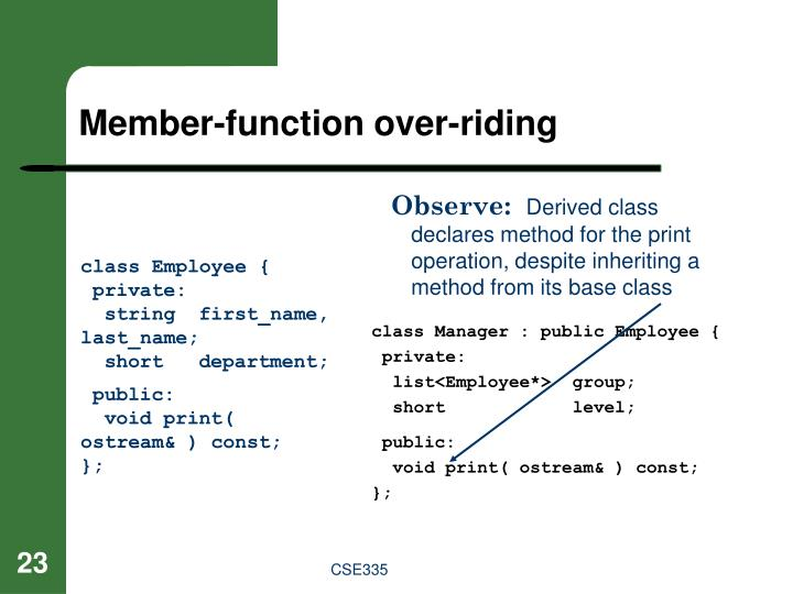 Member-function over-riding