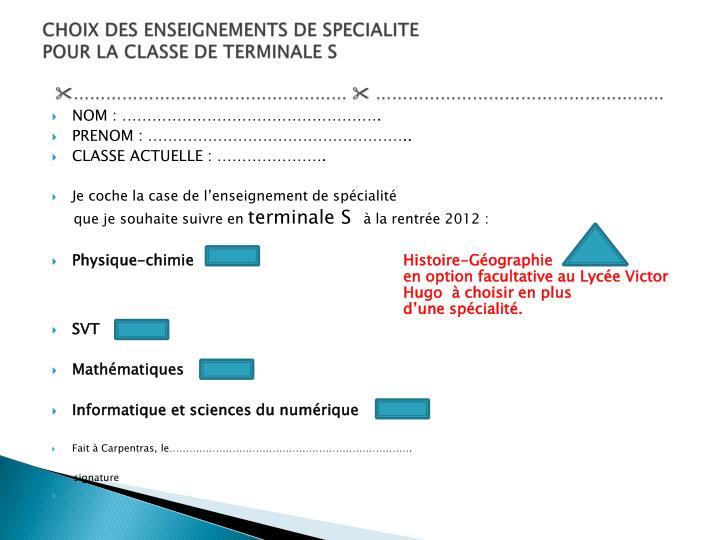 CHOIX DES ENSEIGNEMENTS DE SPECIALITE