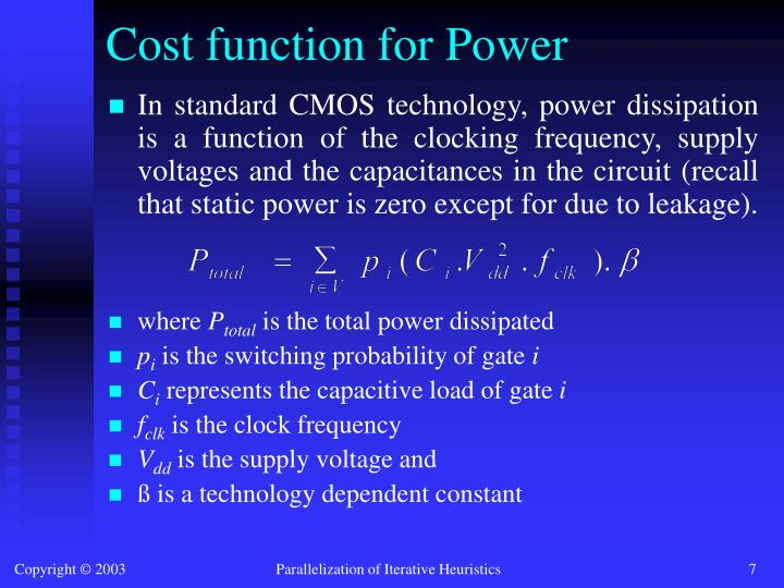 Cost function for Power