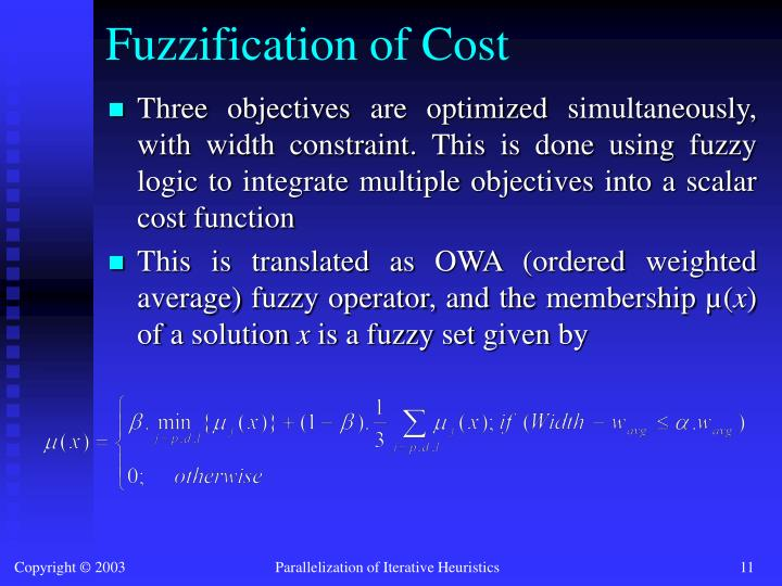 Fuzzification of Cost