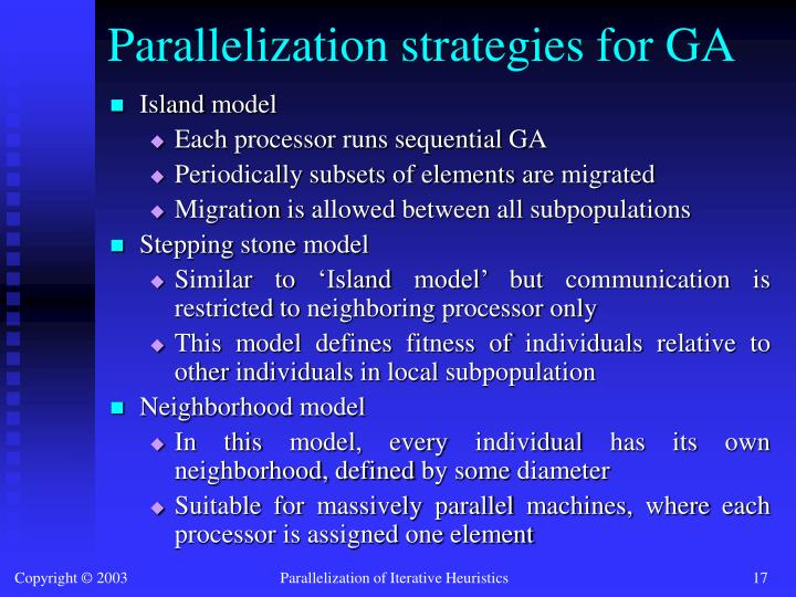 Parallelization strategies for GA