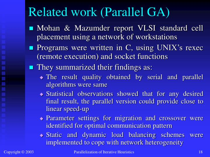 Related work (Parallel GA)