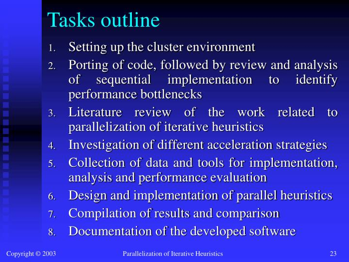 Tasks outline