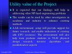 utility value of the project