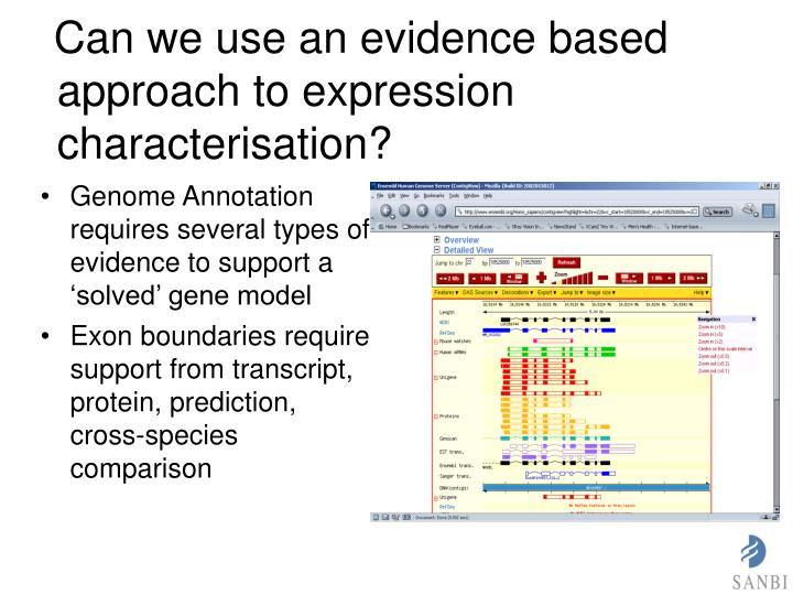Can we use an evidence based approach to expression characterisation?