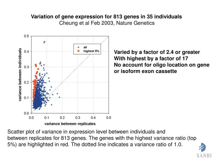 Variation of gene expression for 813 genes in 35 individuals