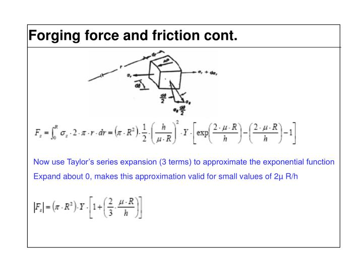Forging force and friction cont.