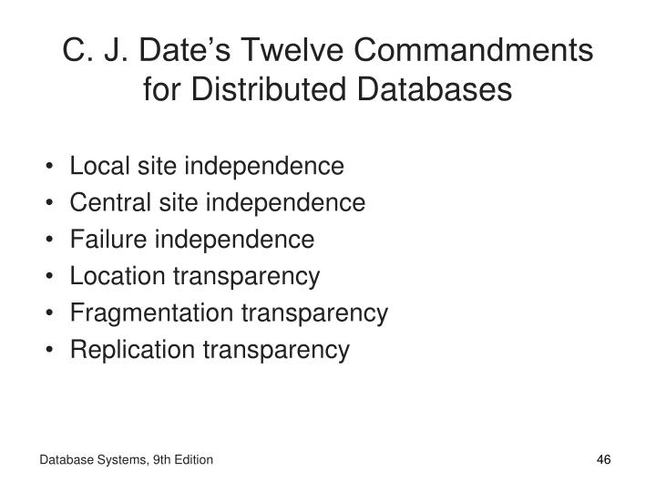 C. J. Date's Twelve Commandments for Distributed Databases