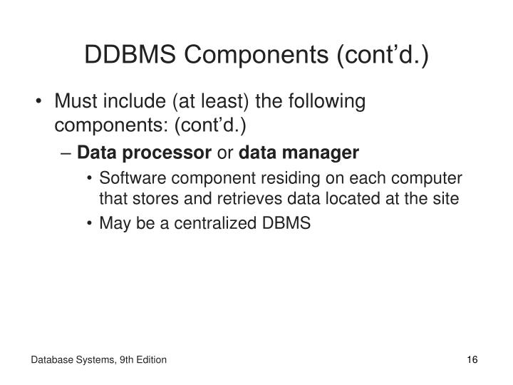 DDBMS Components (cont'd.)