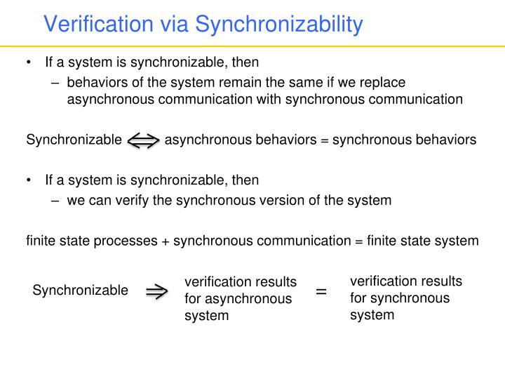 Verification via Synchronizability