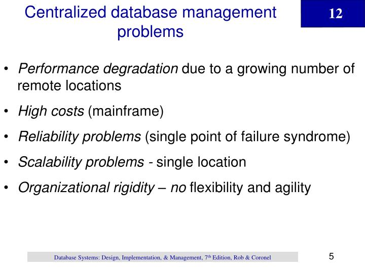 Centralized database management problems