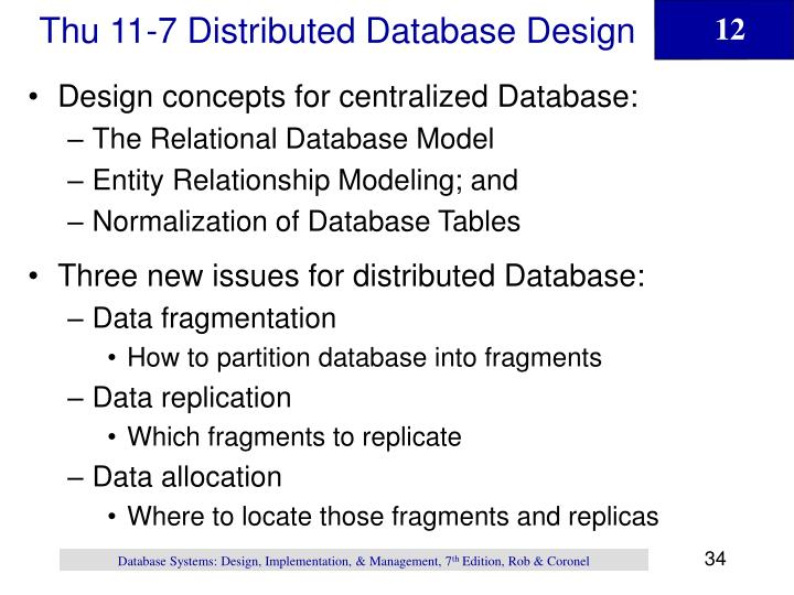 Thu 11-7 Distributed Database Design