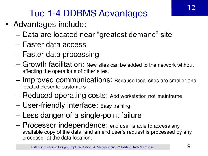 Tue 1-4 DDBMS Advantages