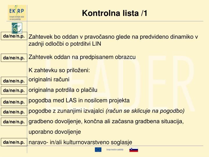 Kontrolna lista /1