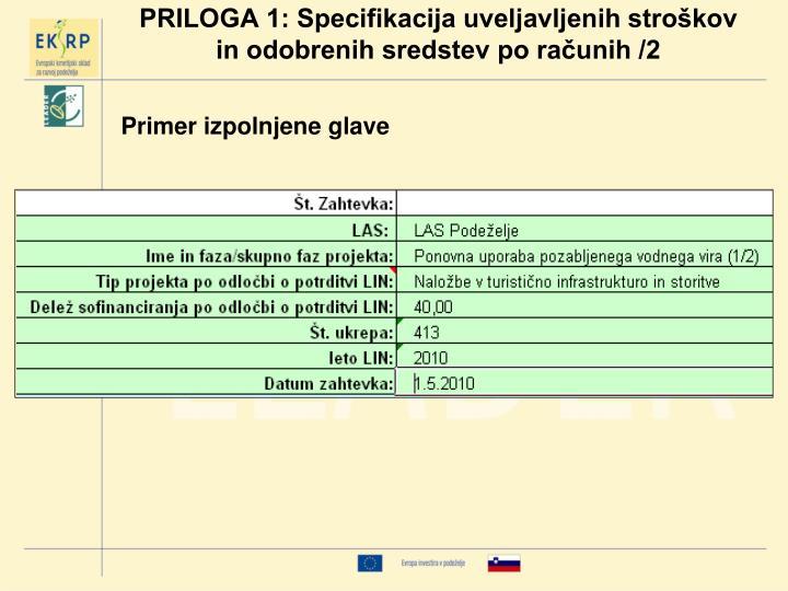 PRILOGA 1: Specifikacija uveljavljenih stroškov