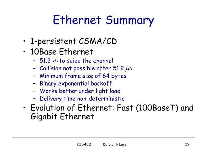 Ethernet Summary