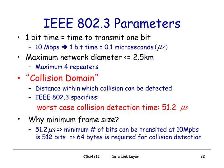 IEEE 802.3 Parameters