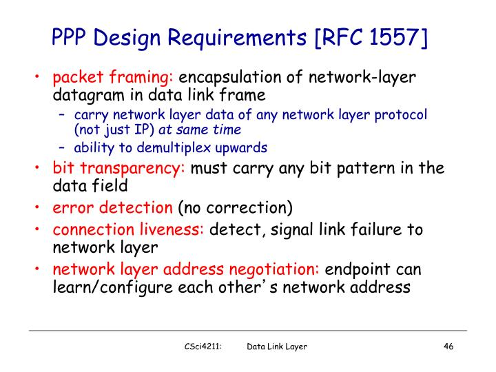 PPP Design Requirements [RFC 1557]