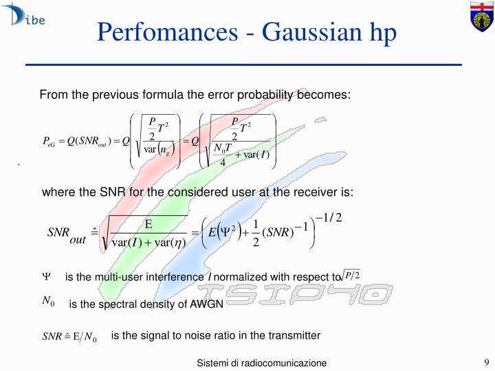 Perfomances - Gaussian hp
