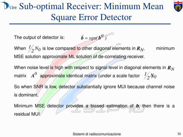 Sub-optimal Receiver: Minimum Mean Square Error Detector