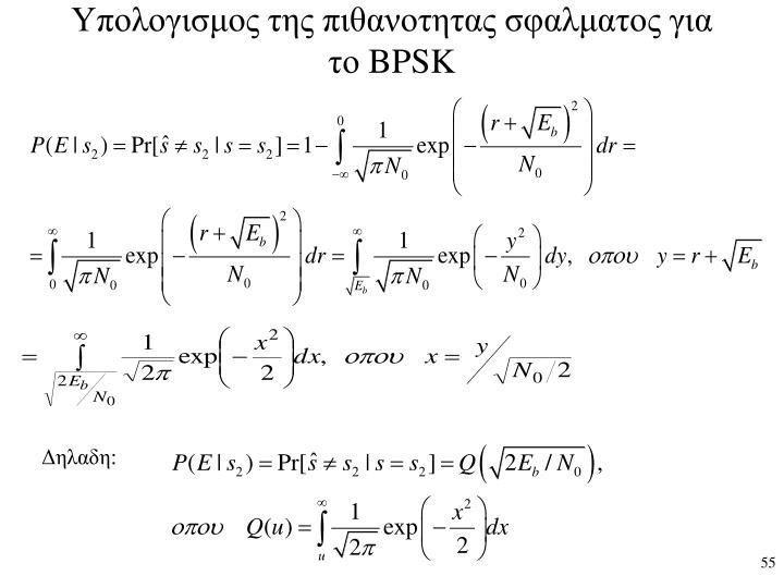 Υπολογισμος της πιθανοτητας σφαλματος για το