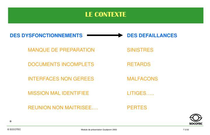 DES DYSFONCTIONNEMENTS