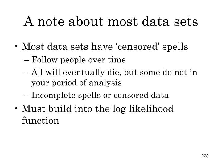 A note about most data sets