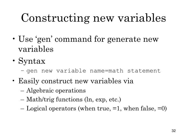 Constructing new variables