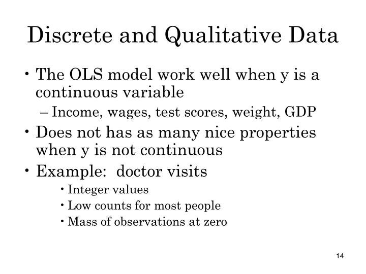 Discrete and Qualitative Data