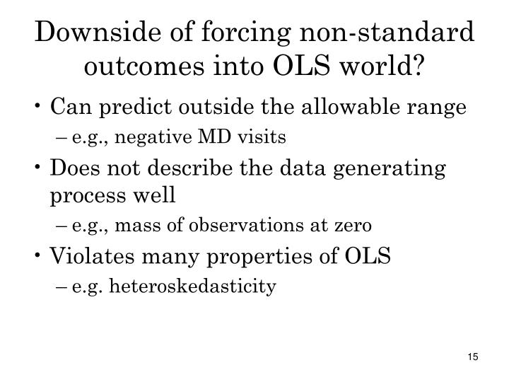 Downside of forcing non-standard outcomes into OLS world?