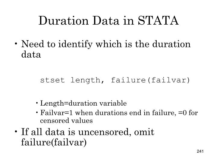Duration Data in STATA