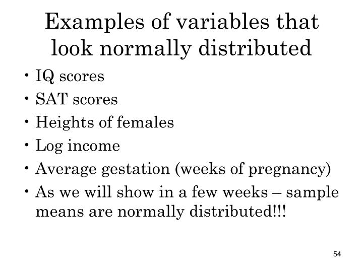 Examples of variables that look normally distributed