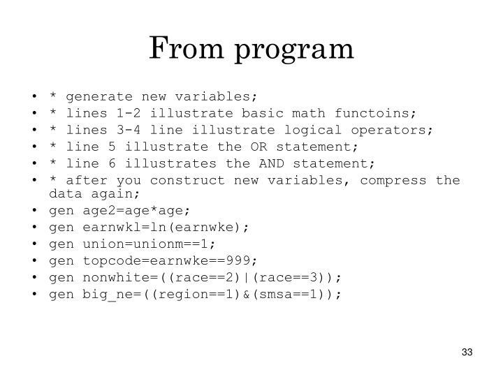 From program