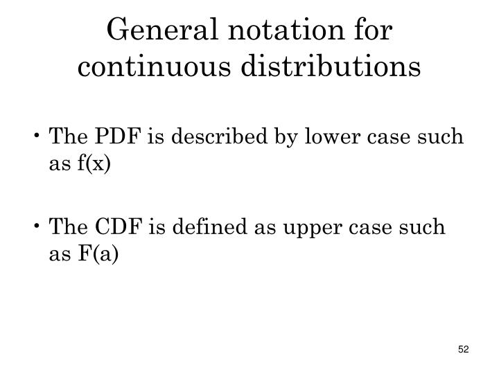General notation for continuous distributions