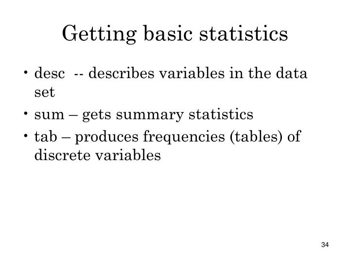 Getting basic statistics