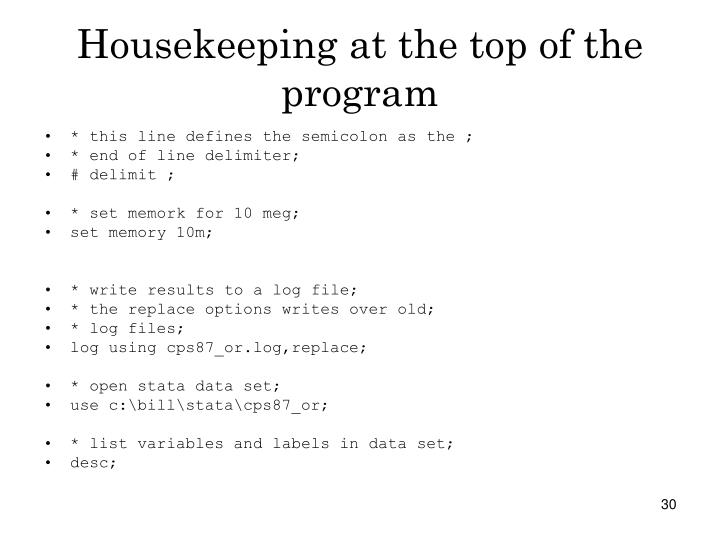 Housekeeping at the top of the program