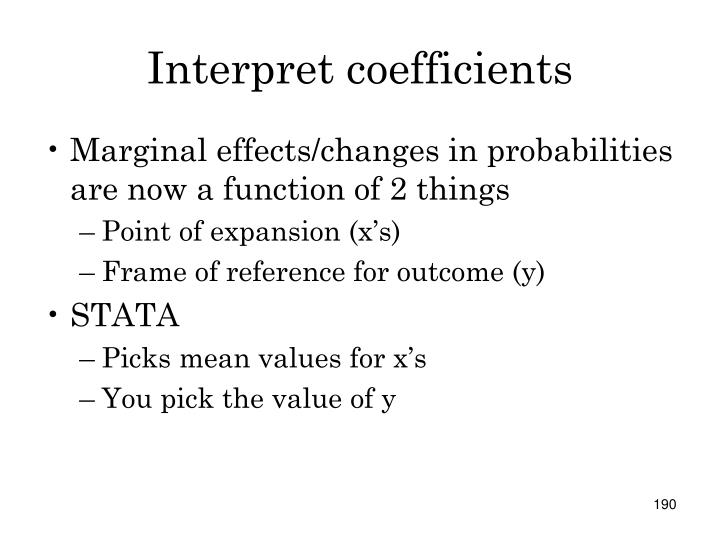 Interpret coefficients