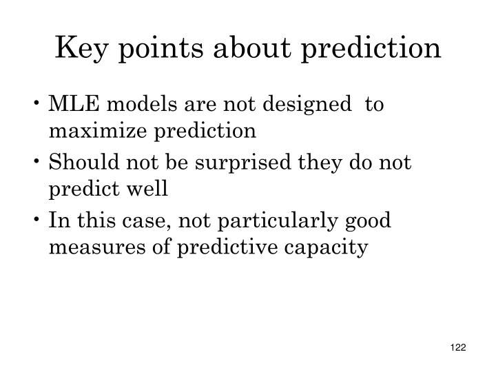 Key points about prediction