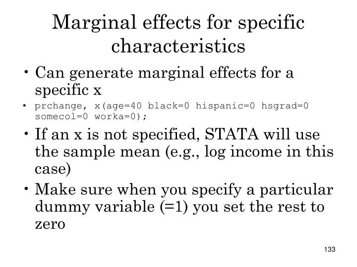 Marginal effects for specific characteristics