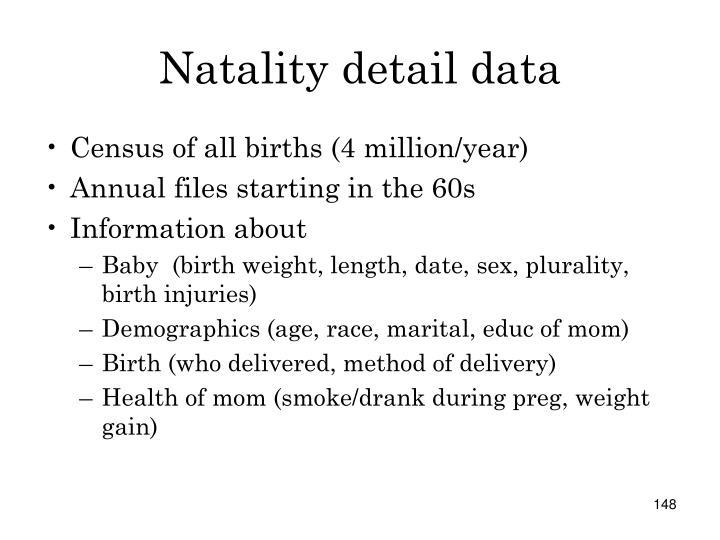 Natality detail data
