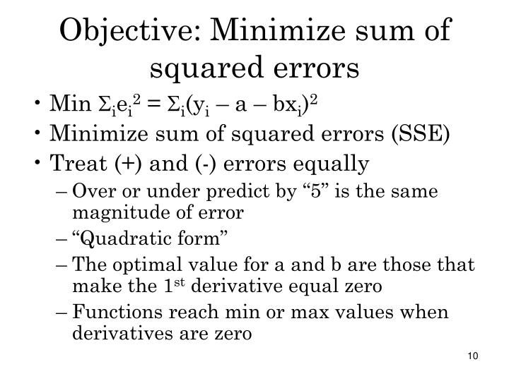 Objective: Minimize sum of squared errors