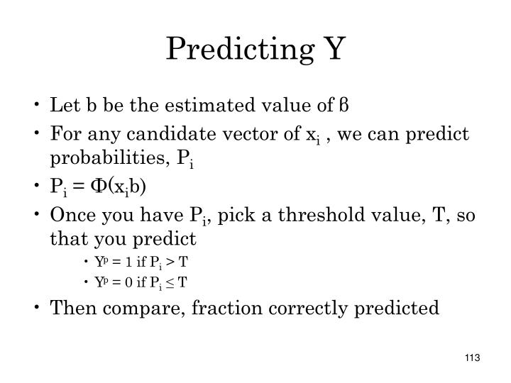 Predicting Y