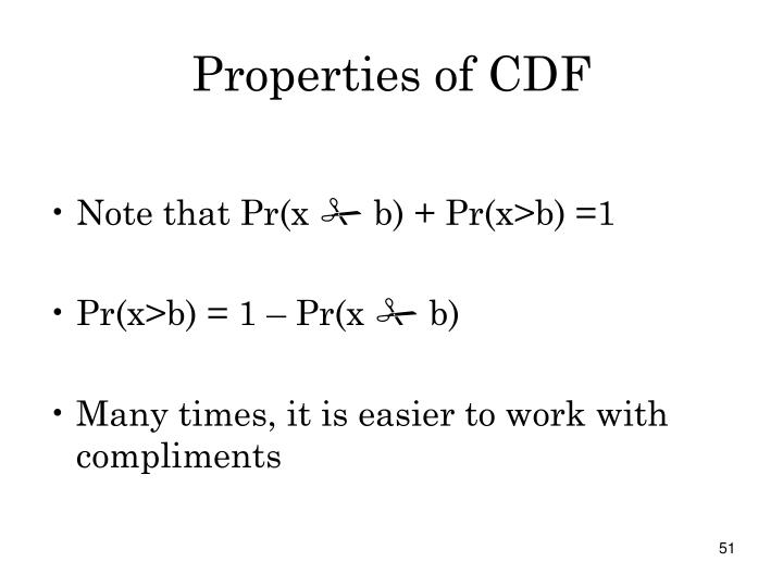 Properties of CDF