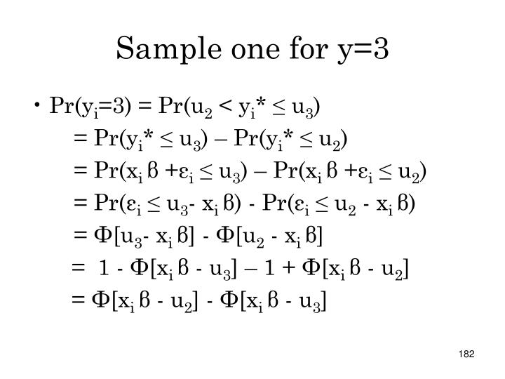 Sample one for y=3