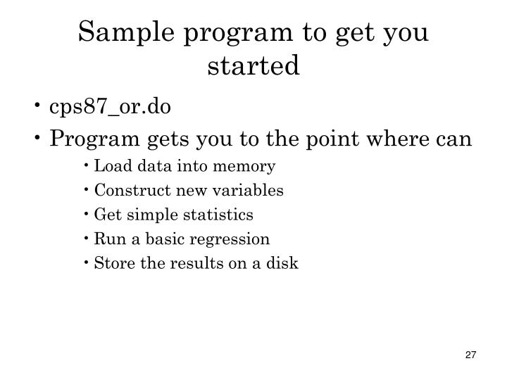 Sample program to get you started