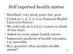self reported health status